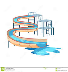 Waterslide In Pool Icon Cartoon Style Stock Vector