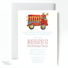 Fire Truck Themed Birthday Party Invitations Personalized Together ...