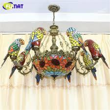 fumat parrot shape chandelier european vintage artistic stained
