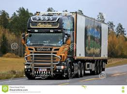 Scania Refrigerator Semi Truck In Autumn Scenery Editorial Image ...