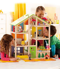 all season doll house furnished from hape from the wooden toybox