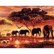 Frameless Vintage Painting Sunset Elephant Landscape DIY By Numbers Wall Art Handpainted Oil On