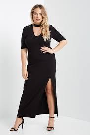 black short sleeve choker neck side slit maxi dress size
