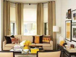 living room curtain ideas for bay windows when there s wall space on either side of the bay window hang