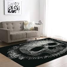 zdstore totenkopf schlafzimmer teppich schwarz und grau modern heimtextilien wohnzimmer rutschfest bodenmatte 150x200cm