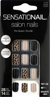 Nailene Uv Gel Lamp Walmart by Sensationail Leopard And Stripes Pre Glued Salon Nails 28 Count