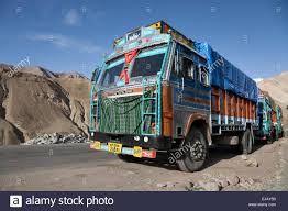 Decorated Indian Trucks On The Hazardous Manali-Leh Road High In The ...