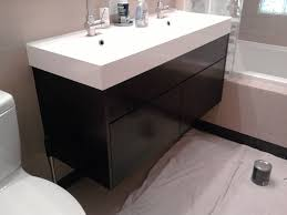 Trough Bathroom Sink With Two Faucets Canada by Long Bathroom Sink With Two Faucets Thedancingparent Com