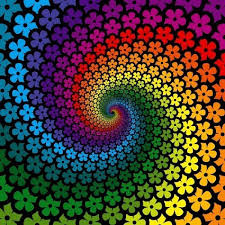 Graphic Design Swirls Of Small Flowers In Rainbow Lines Spiral