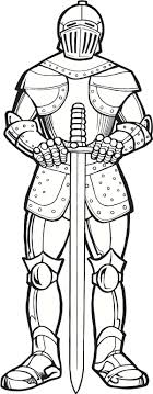 Armor Of God And Long Sword Colouring Page
