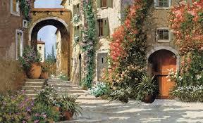 Italian Street Tuscany Tuscan Breezeway 9x15 Wallpaper Wall Decor