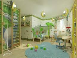 Kids Room Decorating Ideas With Jungle Themed Bedroom Blue Rug White Curtains Half Moon Ceiling