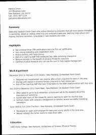 Coaching Resume Template JH6B Assistant Swim Coach Best Design Amp