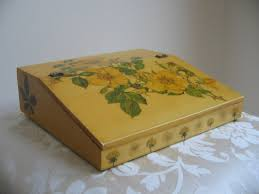 Cushioned Lap Desk With Storage by Vintage Decoupage Lap Desk Yellow Floral Portable Writing Desk