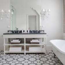 and gray moroccan floor tiles transitional bathroom