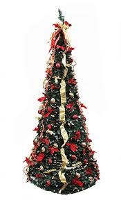 Northlight 31464144 Pre Lit Pop Up Decorated Red Gold Artificial Christmas Tree With Clear