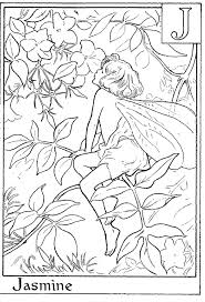 Letter J For Jasmine Flower Fairy Coloring Page