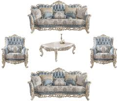 casa padrino luxus barock wohnzimmer set hellblau creme weiß gold 2 sofas 2 sessel 1 couchtisch edle barock wohnzimmer möbel