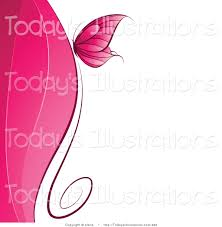 Clipart of a Pink Butterfly over Waves of the Same Hue on White Text Space