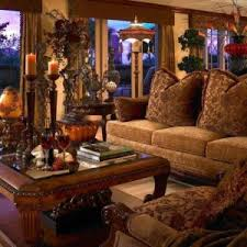 Tuscan Living Room With Chandles Centerpieces And Sofa Chairs Natural