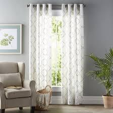 three posts winnett geometric semi sheer grommet single curtain