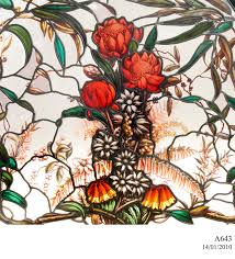 100 Flannel Flower Glass Stained Glass Panel With Waratah Design MAAS Collection