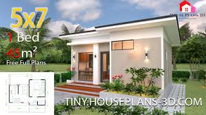 100 One Bedroom Design Small House Plans 5x7 With Shed Roof