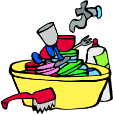 Woman Washing Dishes Vector Of
