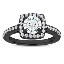 White Sapphire Engagement Ring Wedding 14K Black Gold Vintage Style 138 Carat Certified Pave Halo Handmade