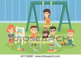 Clipart Of Caucasian Children Playing In The Playground K51135561