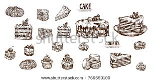 Digital vector detailed line art sliced cake and cupcakes hand drawn retro illustration collection set