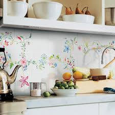 Kitchen Decorating With Hand Painted Wall Tiles