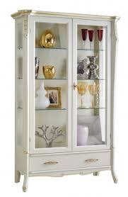 glasvitrine weiß gold 2 türen made in italy vitrine einlegeböden aus glas mit füße möbel aus holz in lackierter farbe einrichtung design für