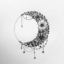 Flowers Gothic Moon Tattoo Design
