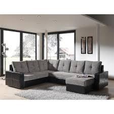 canape angle panoramique canapé d angle panoramique convertible noir et gris walter achat
