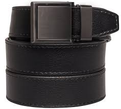 animal friendly black leather with square gunmetal buckle at