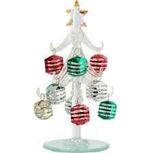 LS Arts 6 Inch Clear Glass Tree With Silver Stripe Ornaments