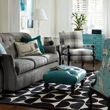 Brown And Teal Living Room by Silky Blue Window Curtain Bright Blue Wall Paint Simple Black