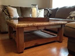 custom made rustic coffee table cedar base and granite top the