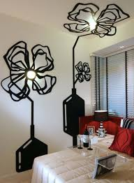 Fascinating Flower Wall Painting With Ceiling Lights Fitures Decor On Small Bedroom Design
