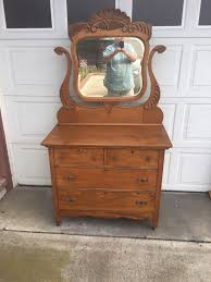 beautiful professionally refinished solid oak dresser with mirror