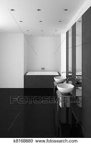 modernes badezimmer mit schwarz boden stock illustration