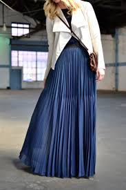 navy blue pleated maxi skirt dress ala