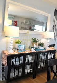 Decorations For Dining Room Table by Two Cabinets To Create A Buffet Table In The Dining Room
