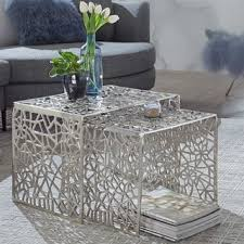 wohnling design couchtisch silber 2er set aluminium