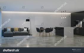 100 Modern Houses Interior House Black Kitchen Night 1266584344