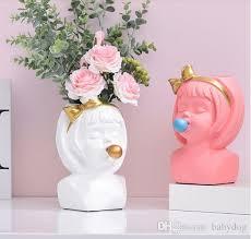 großhandel kreative resin vase nette mädchen dekoration heim wohnzimmer esstisch dekorative kunst porträt vase modernes mädchen vase dekoration