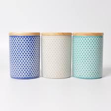 Ceramic Kitchen Canister Sets Food Grade Reactive Glaze Wax Resist Stoneware Storage Jar Ceramic Kitchen Canister Set With Bamboo Wood Lids Buy Kitchen Canister Set Bamboo Lid