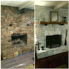Painting Stone Fireplace Ideas Painted Rock Fireplace Huge