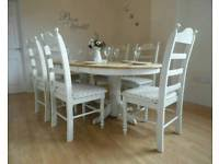 Beautiful Shabby Chic 65ft Oak Extending Dining Table And 6 Chairs